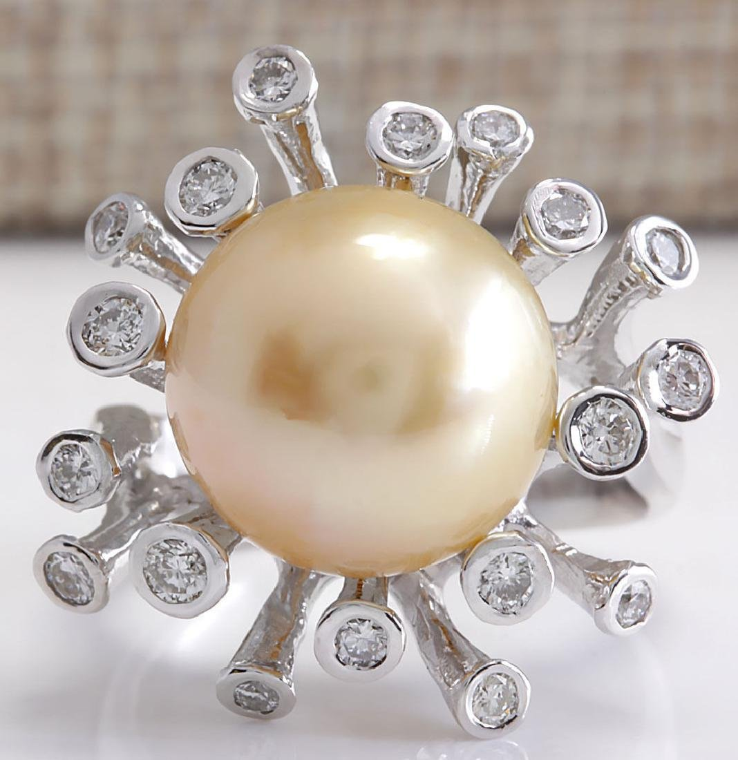 .80CTW Natural 13.17Mm Gold South Sea Pearl Diamond