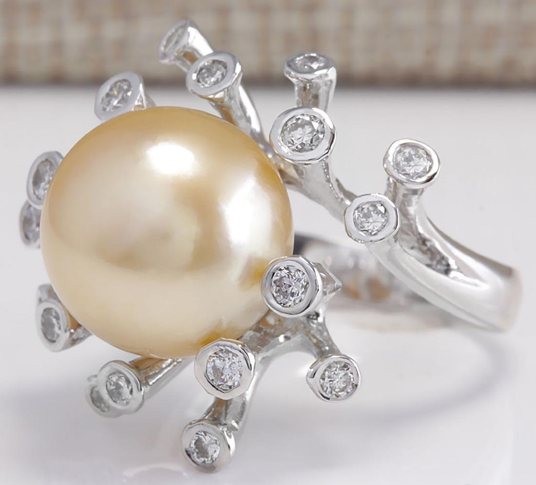 .80CTW Natural 13.17Mm Gold South Sea Pearl Diamond - 2