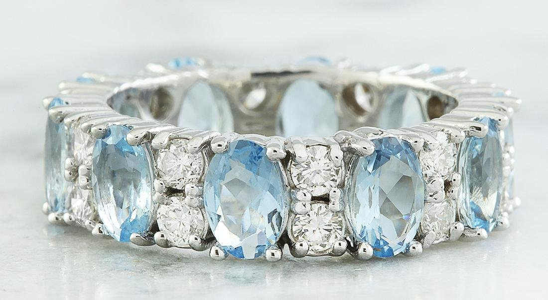 4.45 Carat Aquamarine 18k White Gold Diamond Ring