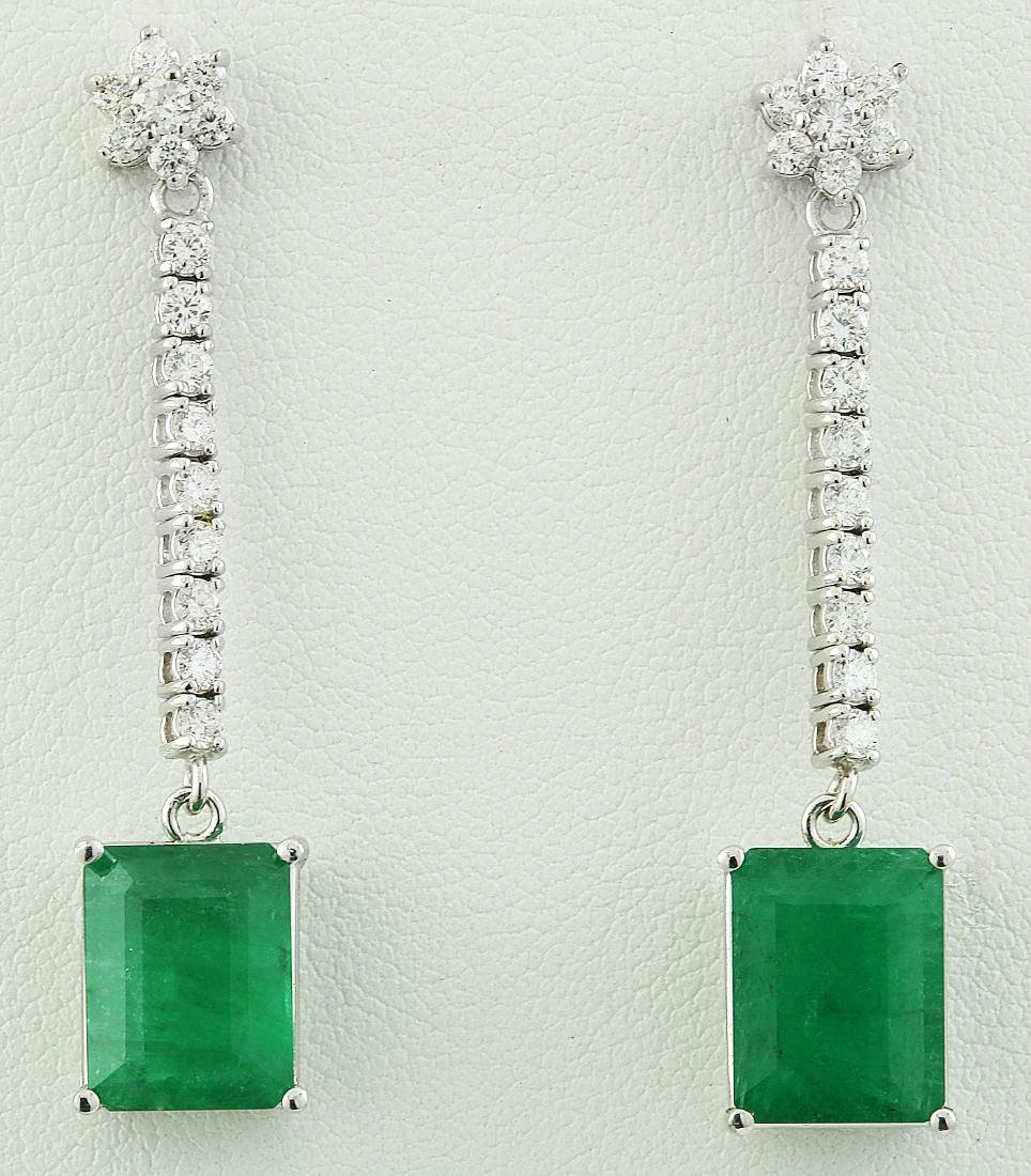 5.87 Carat Emerald 18k White Gold Diamond Earrings