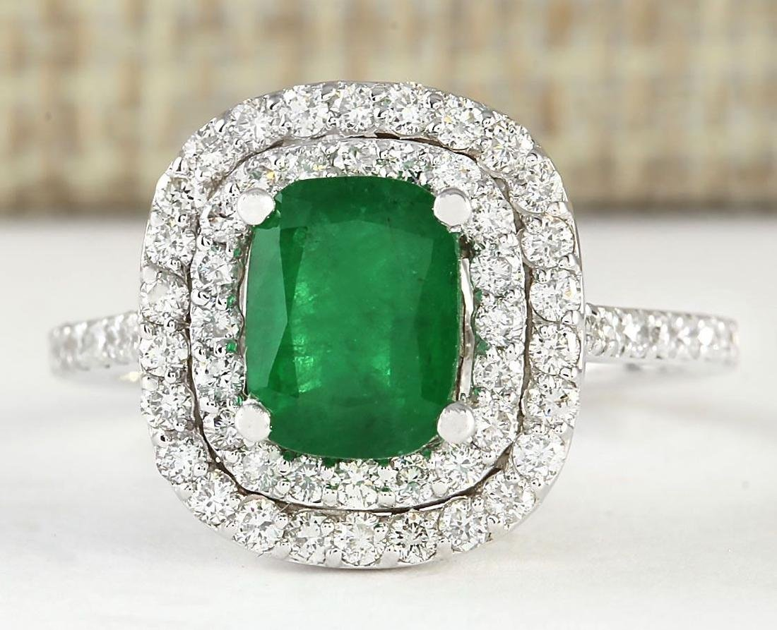 2.44 CTW Natural Emerald And Diamond Ring In 18K White