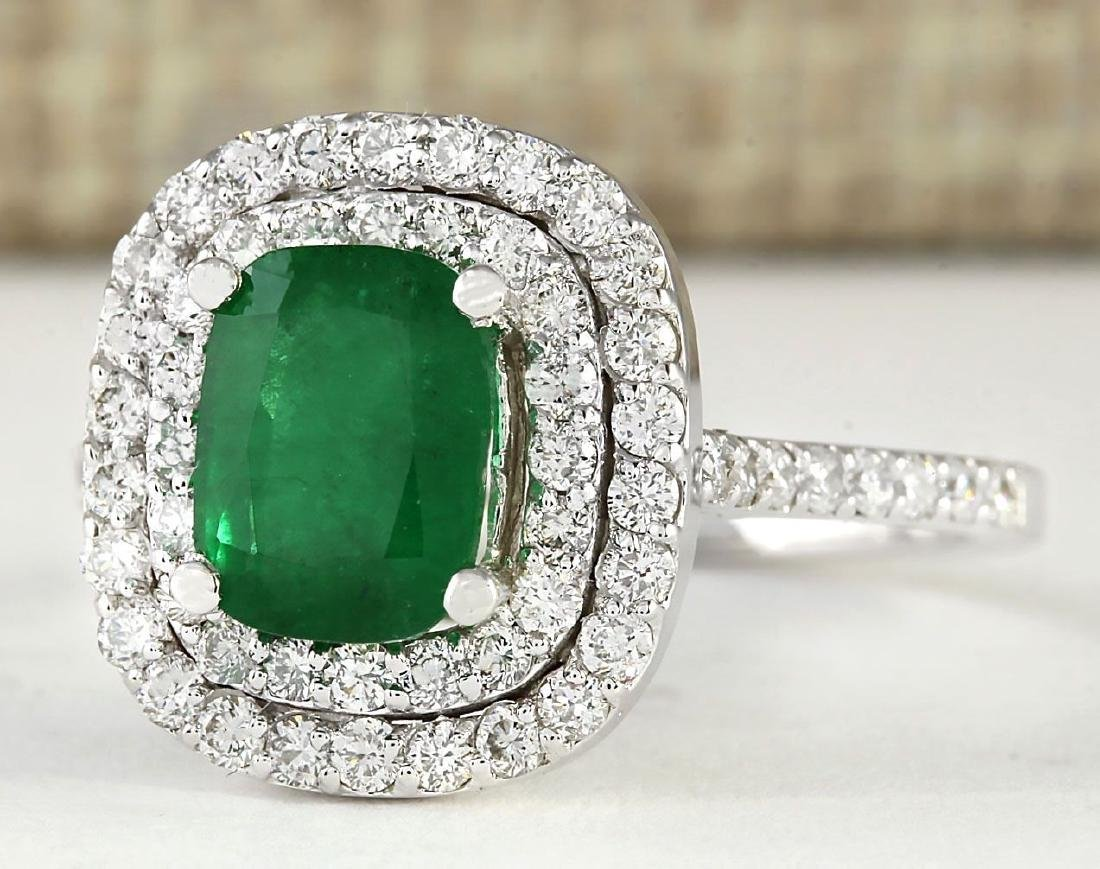 2.44 CTW Natural Emerald And Diamond Ring In 18K White - 2