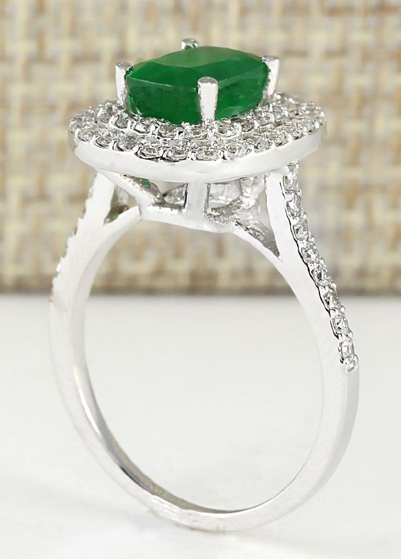 2.44 CTW Natural Emerald And Diamond Ring In 18K White - 3