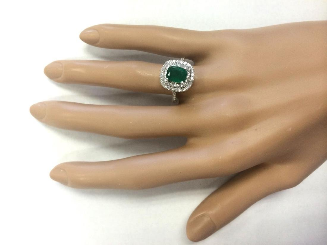 2.44 CTW Natural Emerald And Diamond Ring In 18K White - 4