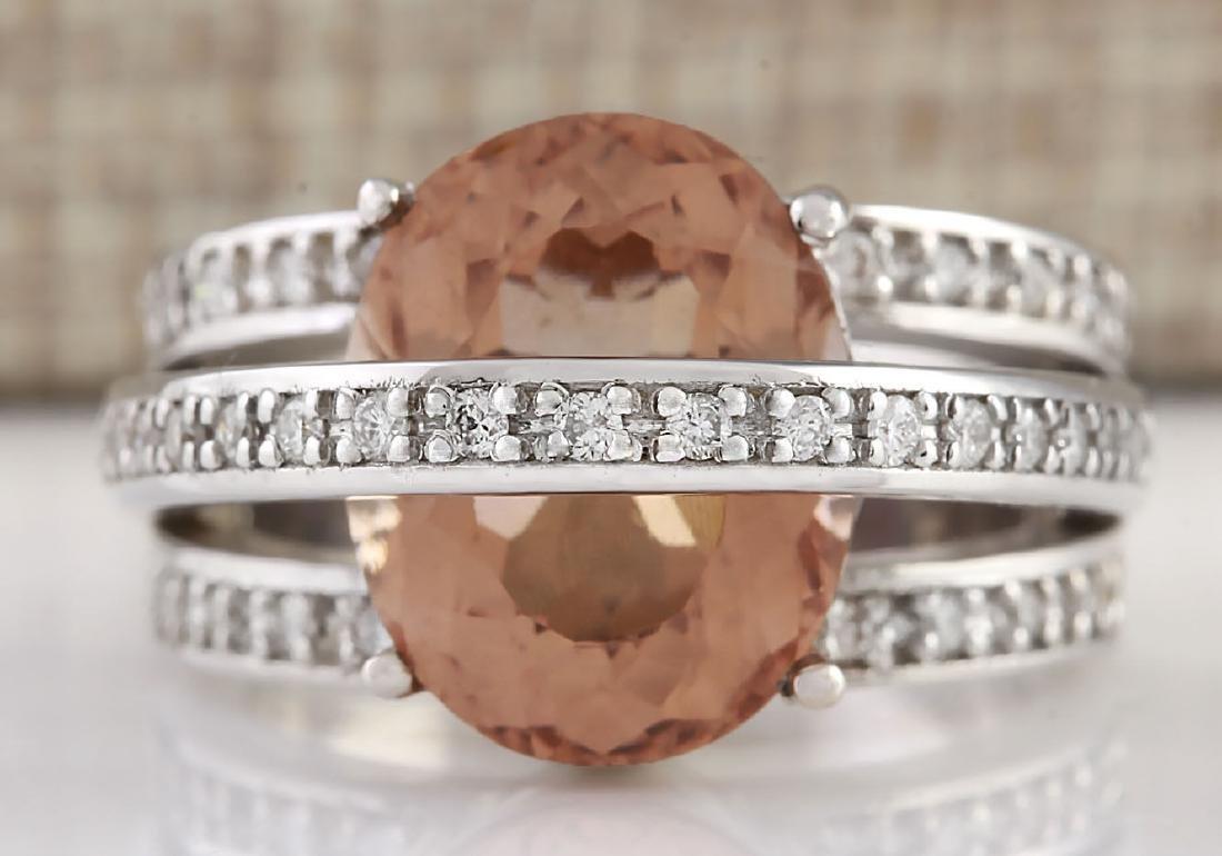 8.05 CTW Natural Morganite And Diamond Ring 18K Solid