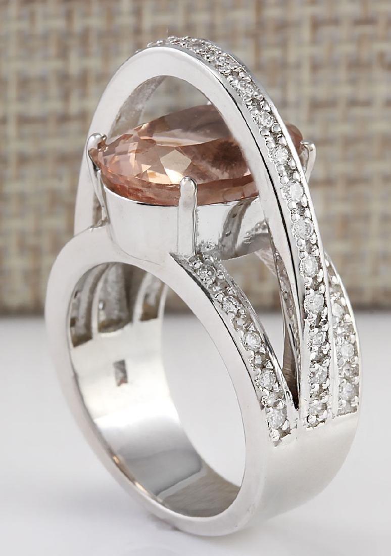 8.05 CTW Natural Morganite And Diamond Ring 18K Solid - 3