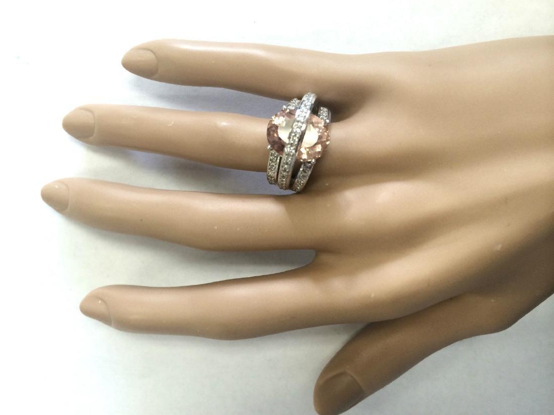 8.05 CTW Natural Morganite And Diamond Ring 18K Solid - 4