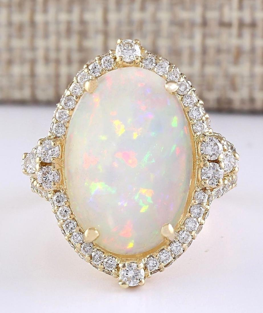 7.09 CTW Natural Opal And Diamond Ring In 18K Yellow