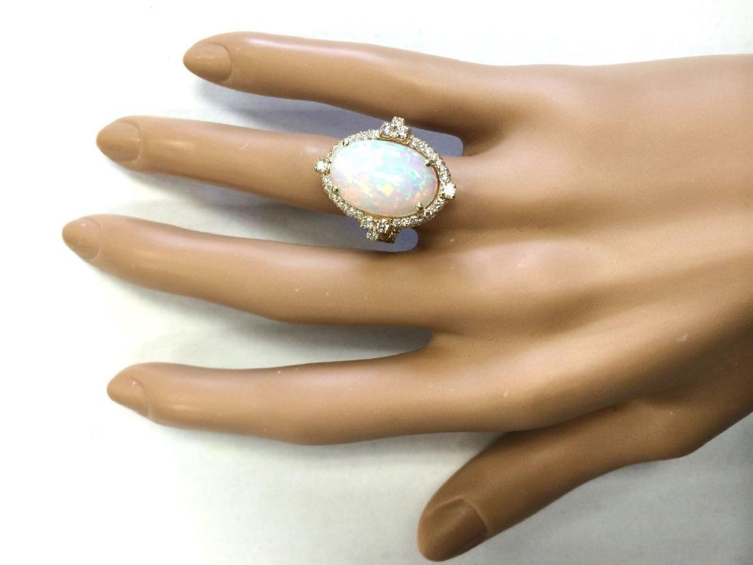 7.09 CTW Natural Opal And Diamond Ring In 18K Yellow - 4