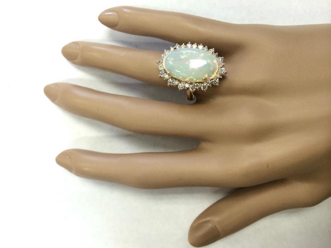 8.29 CTW Natural Opal And Diamond Ring In 18K Yellow - 4
