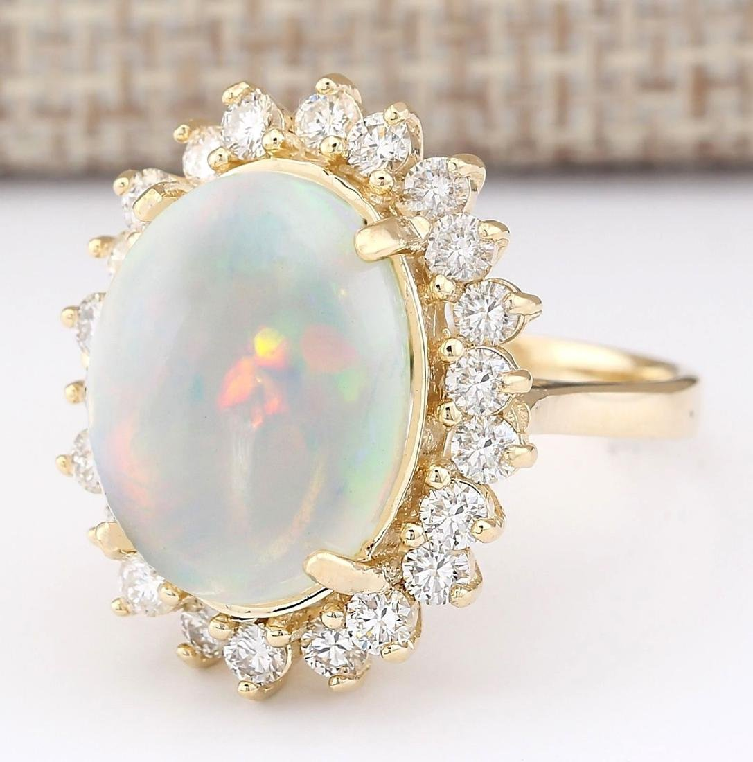 7.26 CTW Natural Opal And Diamond Ring In 18K Yellow - 2