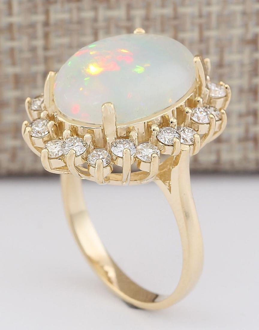 7.26 CTW Natural Opal And Diamond Ring In 18K Yellow - 3