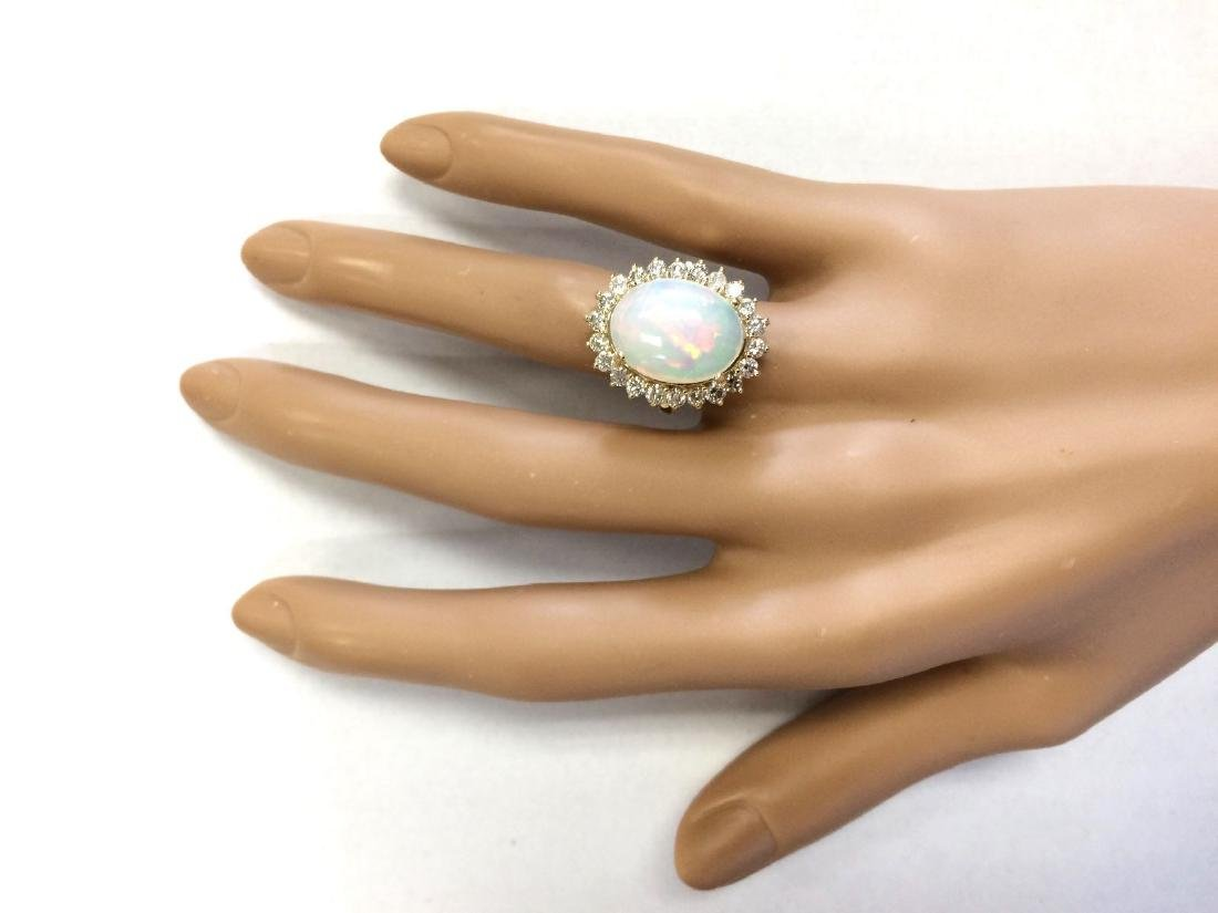 7.26 CTW Natural Opal And Diamond Ring In 18K Yellow - 4