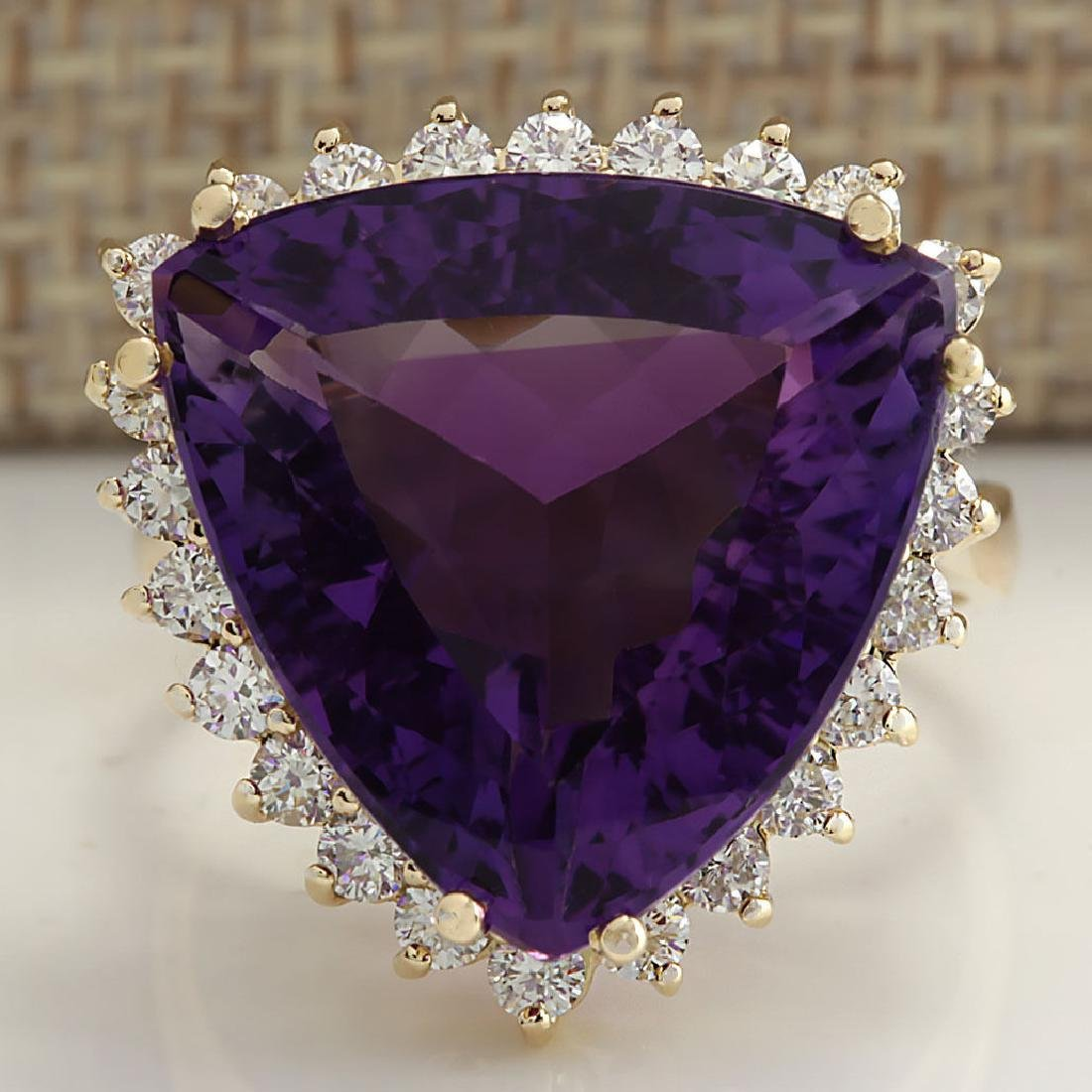 14.31CTW Natural Amethyst And Diamond Ring In 18K Solid