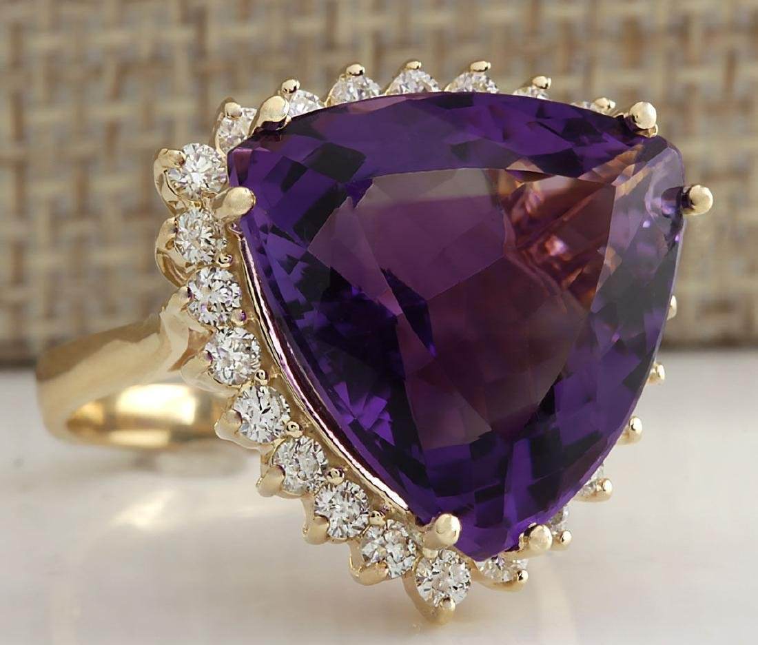 14.31CTW Natural Amethyst And Diamond Ring In 18K Solid - 2