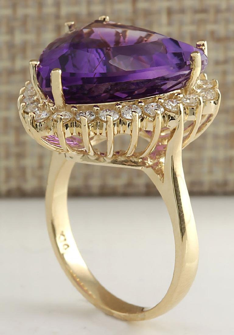14.31CTW Natural Amethyst And Diamond Ring In 18K Solid - 3