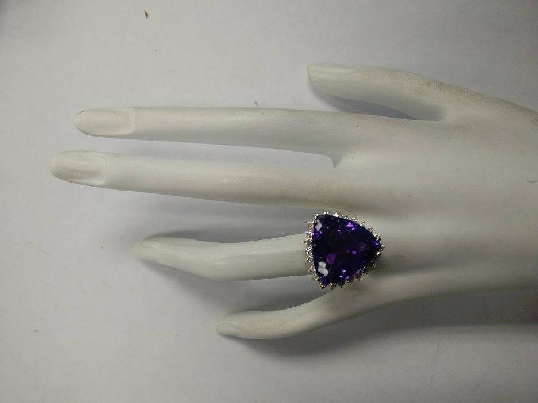 14.31CTW Natural Amethyst And Diamond Ring In 18K Solid - 4