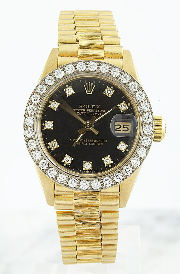 Rolex Oyster Perpetual Datejust 18K Yellow Gold Diamond