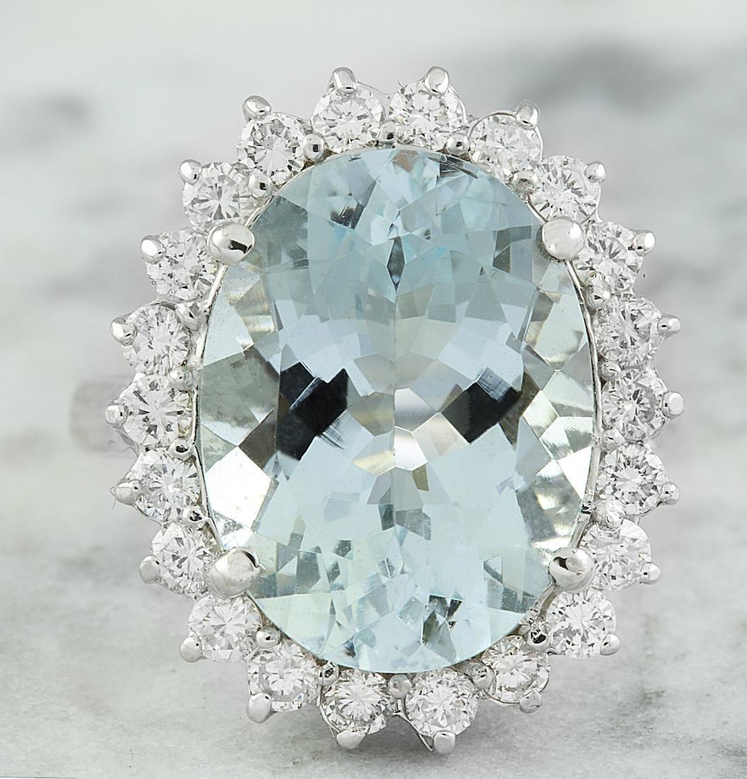 8.88 Carat Aquamarine 18k White Gold Diamond Ring