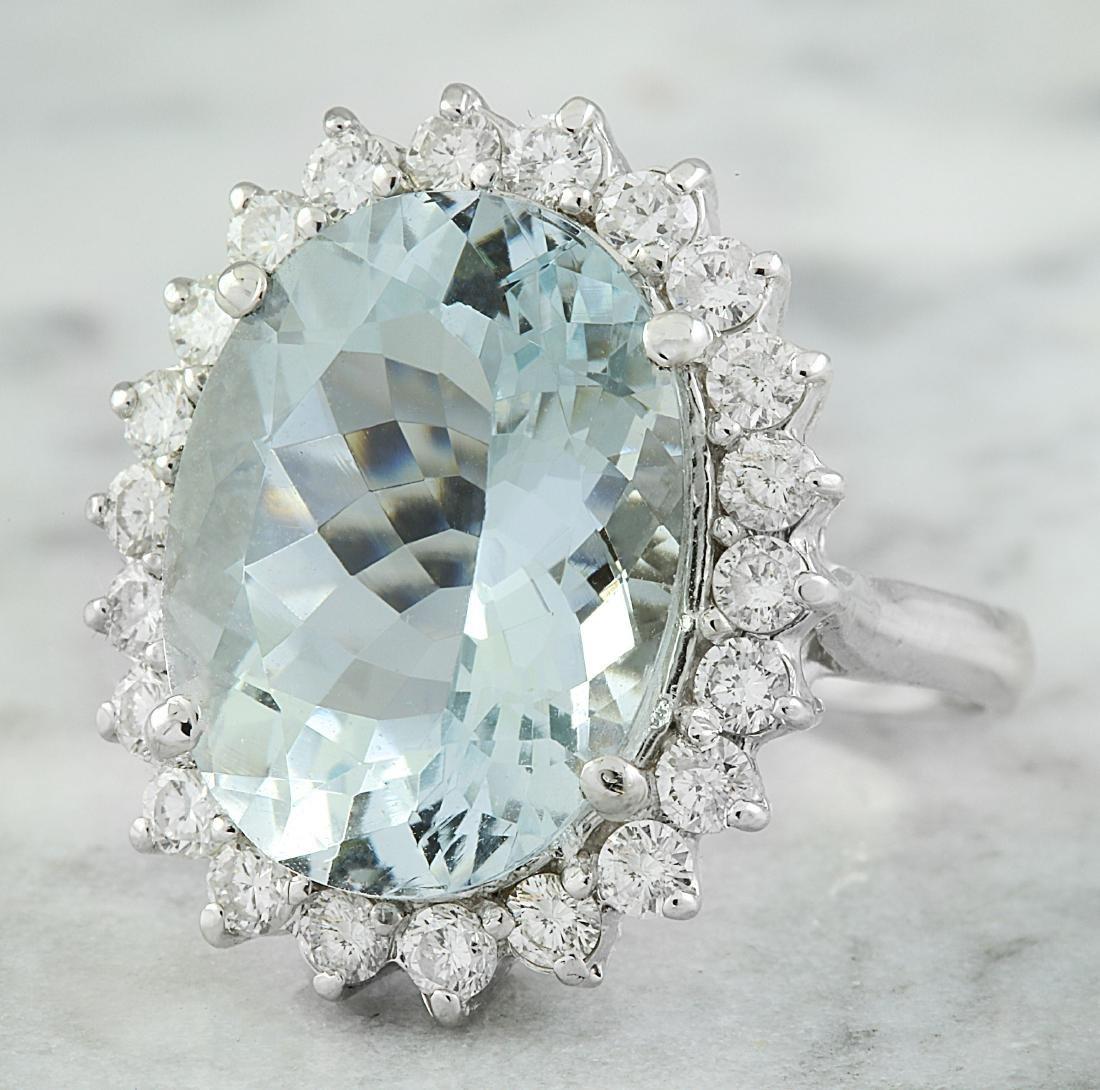 8.88 Carat Aquamarine 18k White Gold Diamond Ring - 2