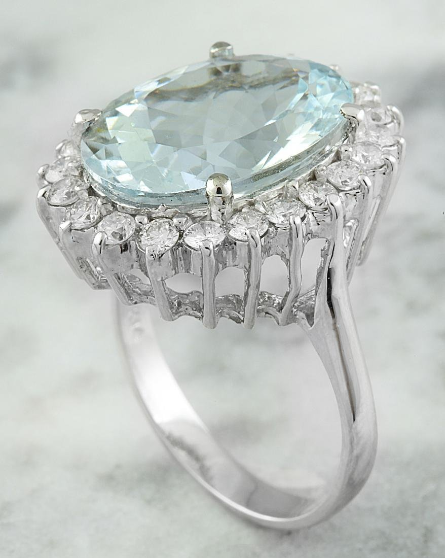 8.88 Carat Aquamarine 18k White Gold Diamond Ring - 3