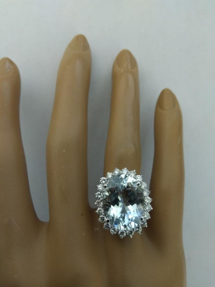 8.88 Carat Aquamarine 18k White Gold Diamond Ring - 5