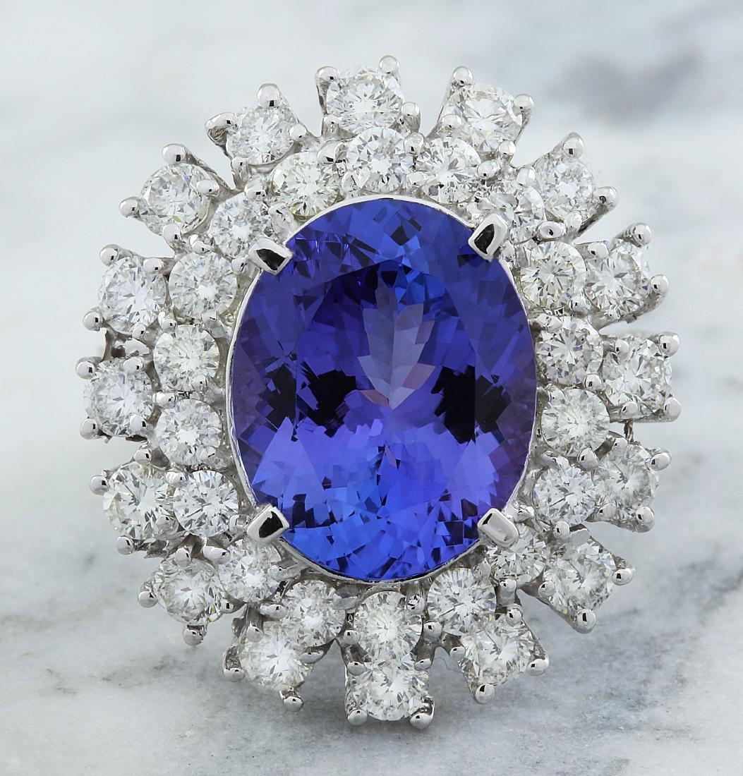 9.00 Carat Tanzanite 18k White Gold Diamond Ring