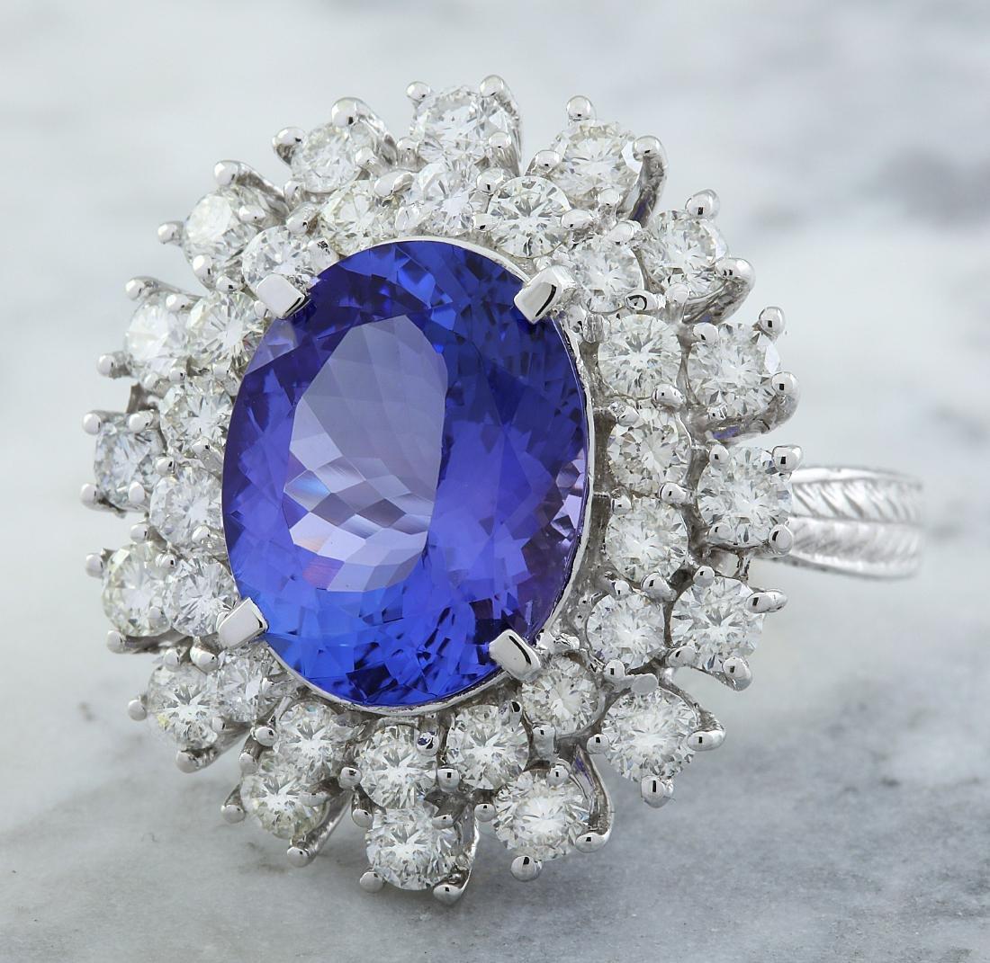 9.00 Carat Tanzanite 18k White Gold Diamond Ring - 2