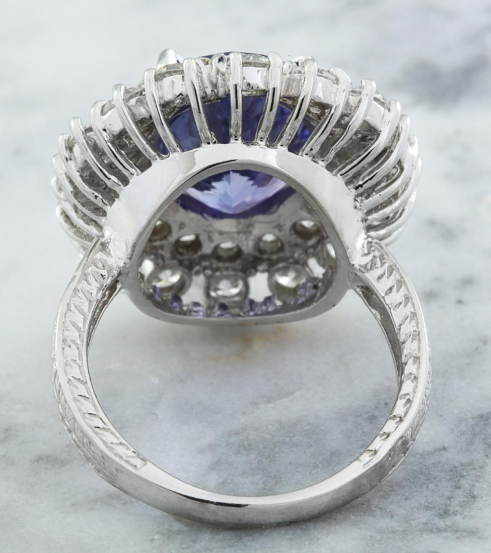 9.00 Carat Tanzanite 18k White Gold Diamond Ring - 3
