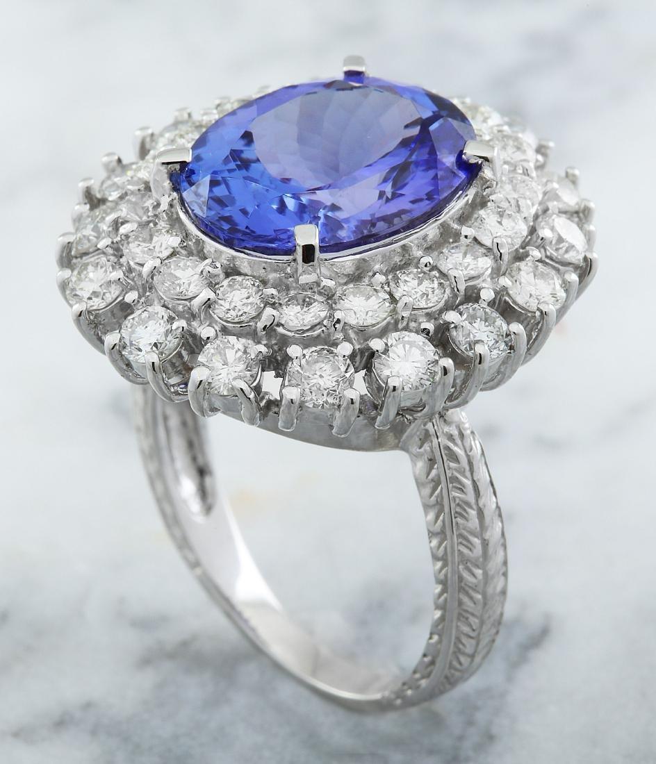 9.00 Carat Tanzanite 18k White Gold Diamond Ring - 4