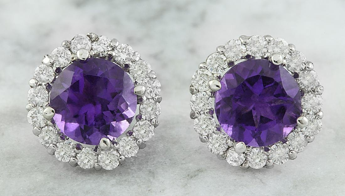 3.65 Carat Amethyst 18k White Gold Diamond Earrings