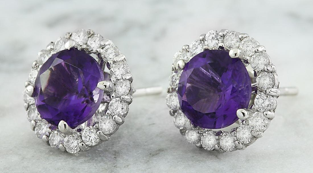3.65 Carat Amethyst 18k White Gold Diamond Earrings - 2