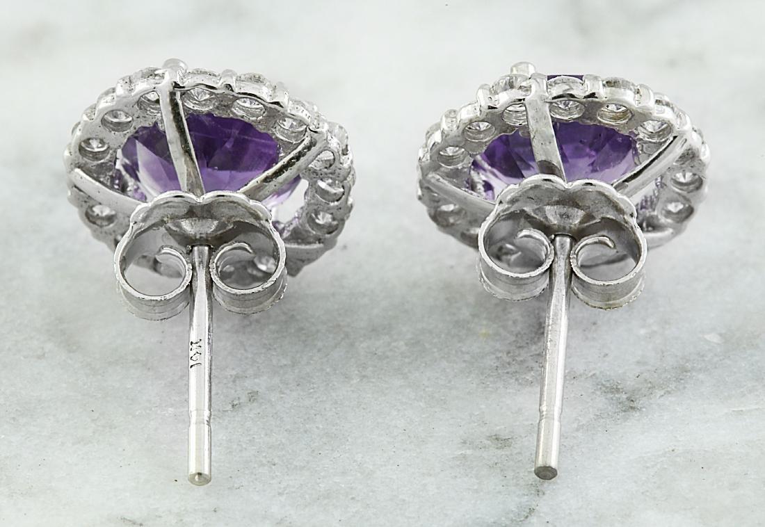 3.65 Carat Amethyst 18k White Gold Diamond Earrings - 4