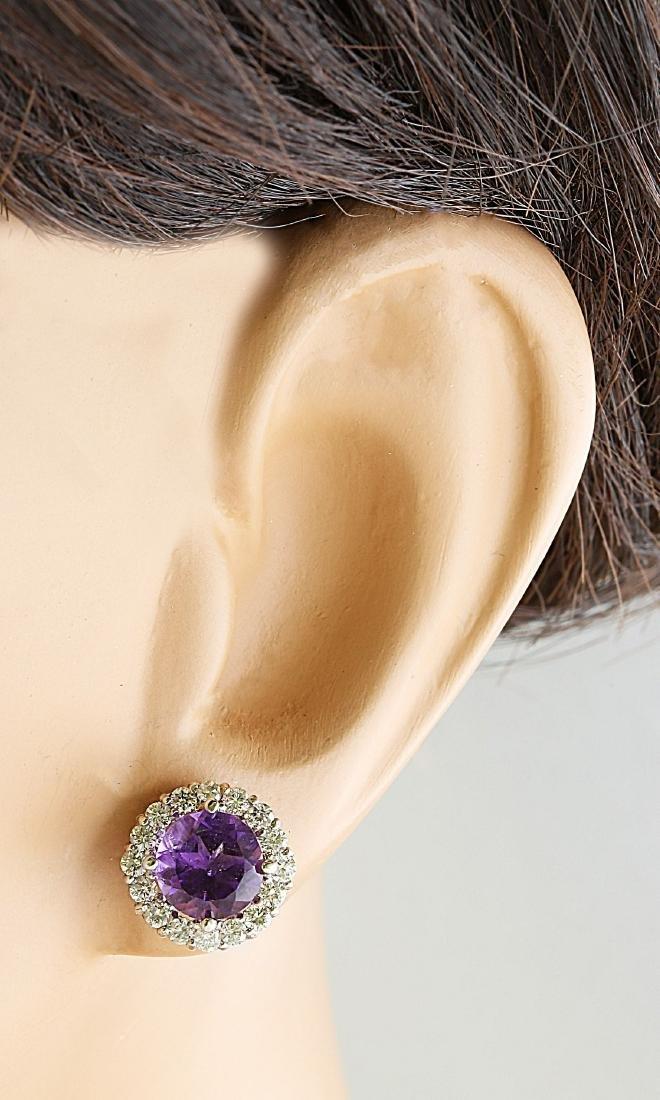3.65 Carat Amethyst 18k White Gold Diamond Earrings - 5
