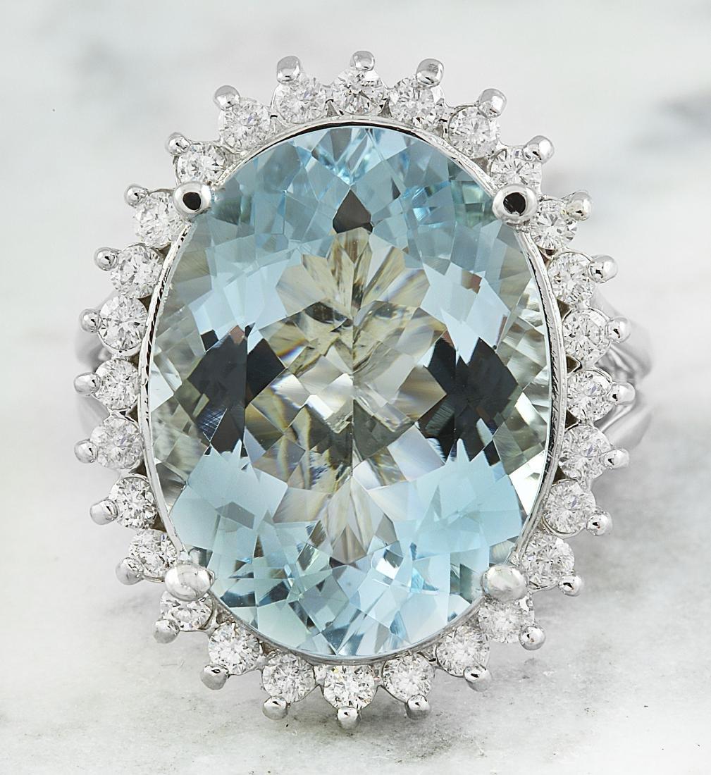 13.16 Carat Aquamarine 18k White Gold Diamond Ring