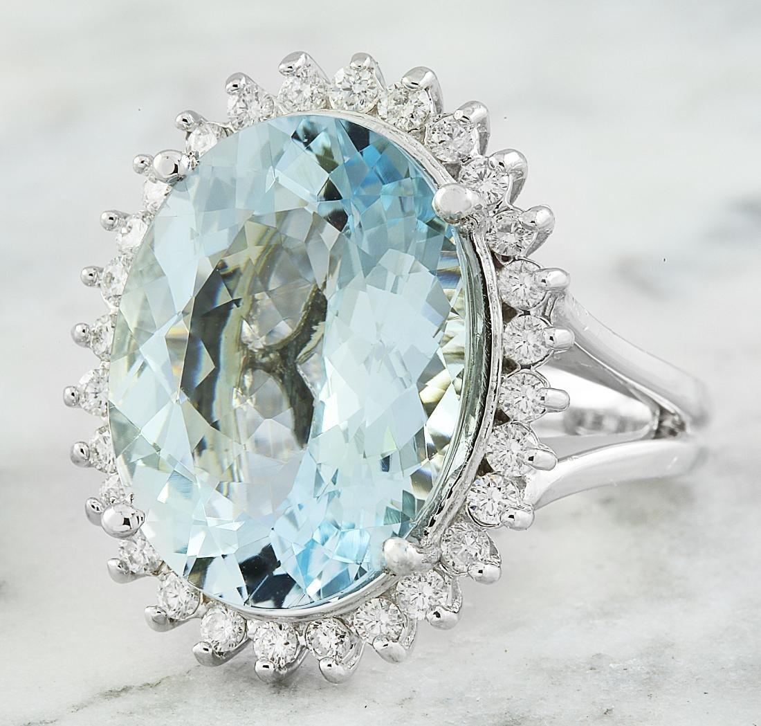 13.16 Carat Aquamarine 18k White Gold Diamond Ring - 2