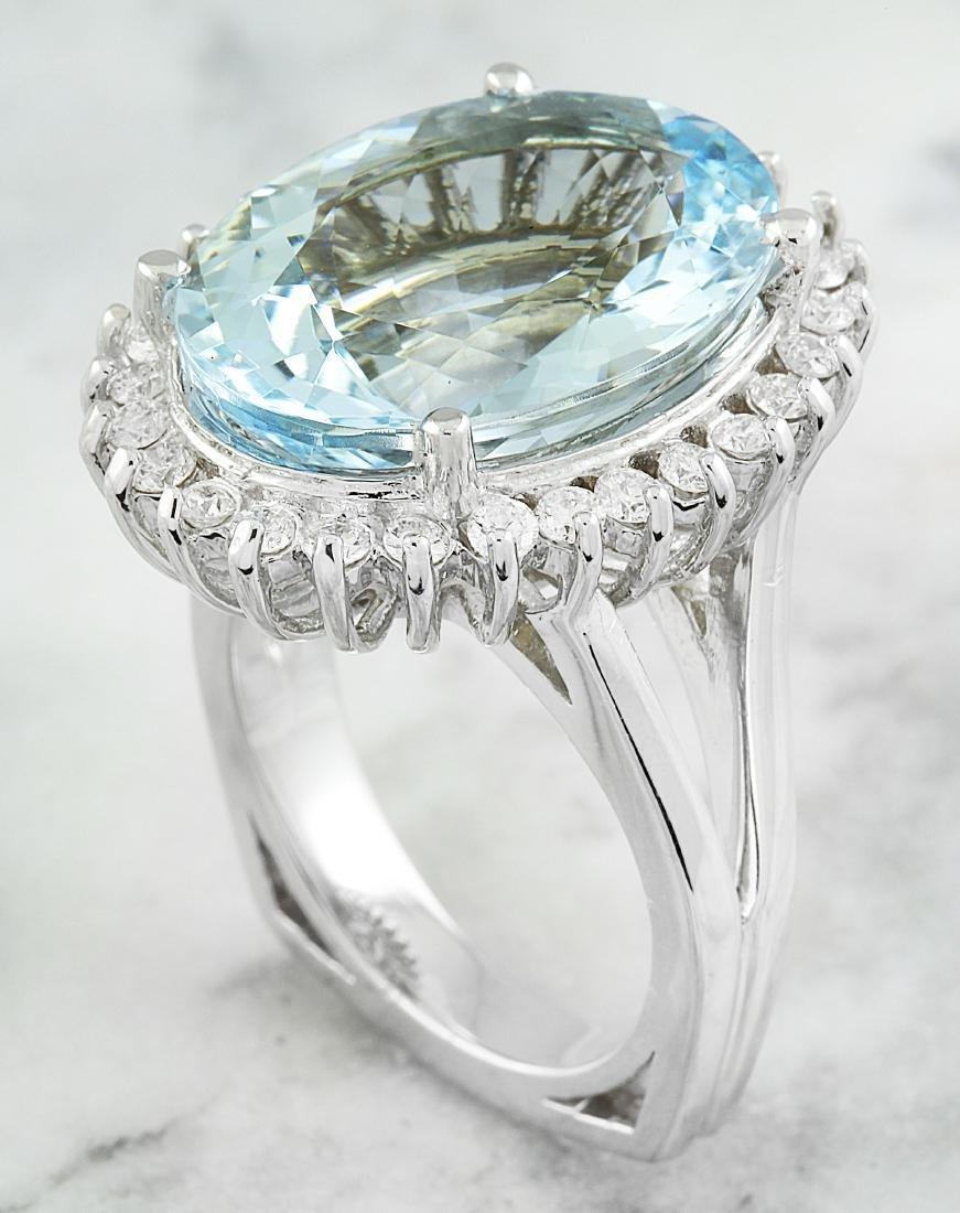13.16 Carat Aquamarine 18k White Gold Diamond Ring - 3
