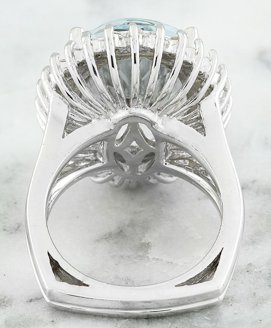 13.16 Carat Aquamarine 18k White Gold Diamond Ring - 4