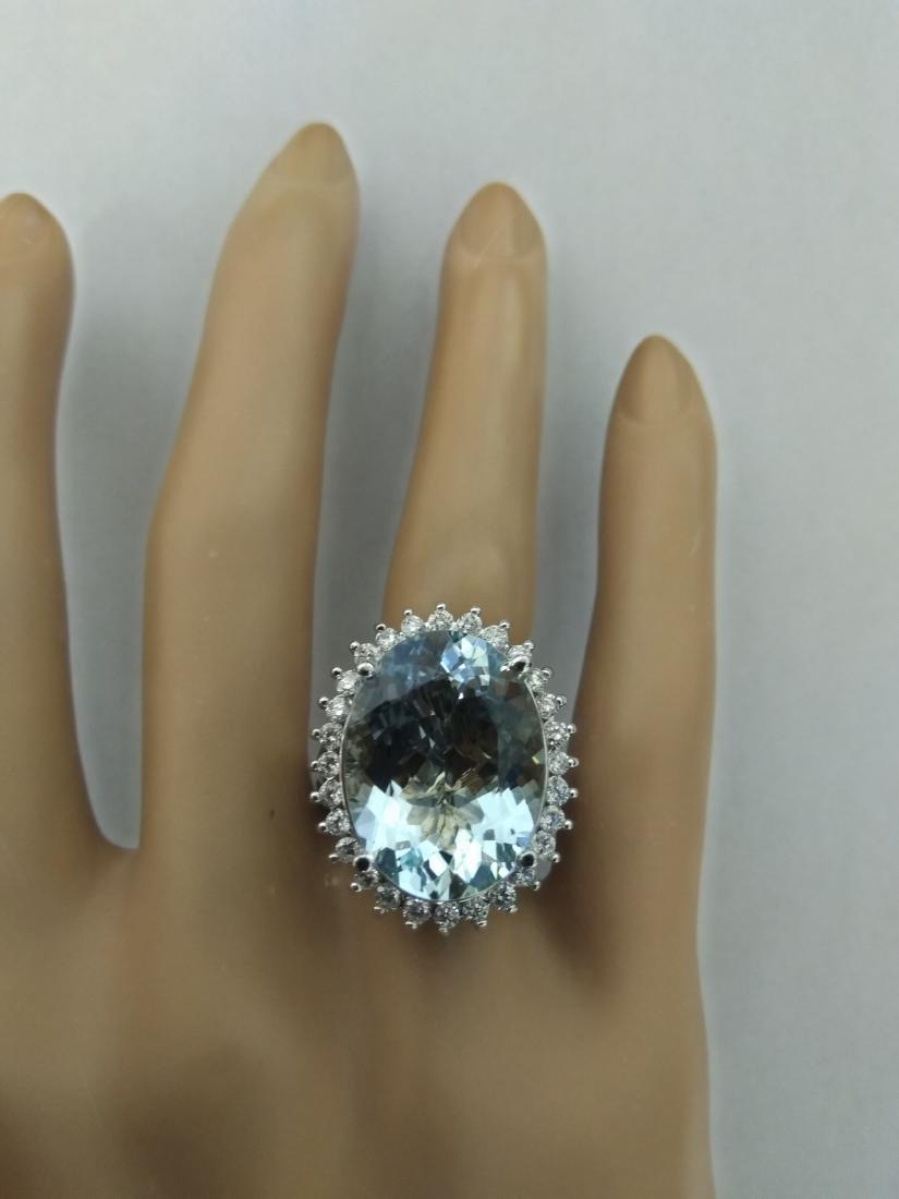 13.16 Carat Aquamarine 18k White Gold Diamond Ring - 5