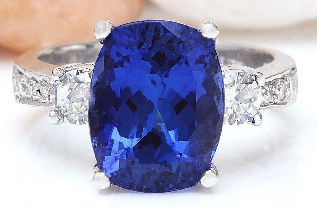 6.83 Carat Natural Tanzanite 18k Solid White Gold