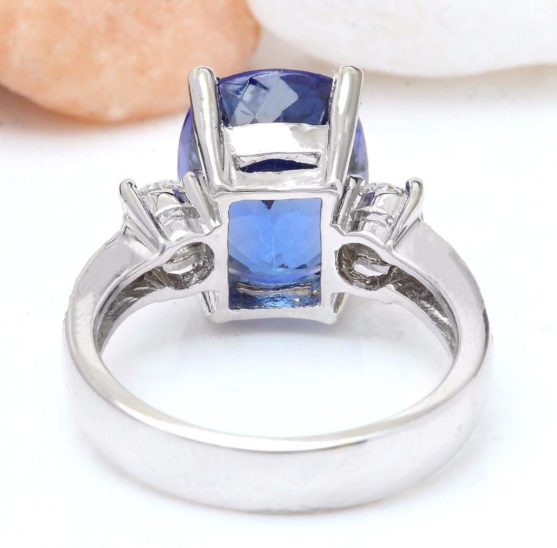 6.83 Carat Natural Tanzanite 18k Solid White Gold - 3