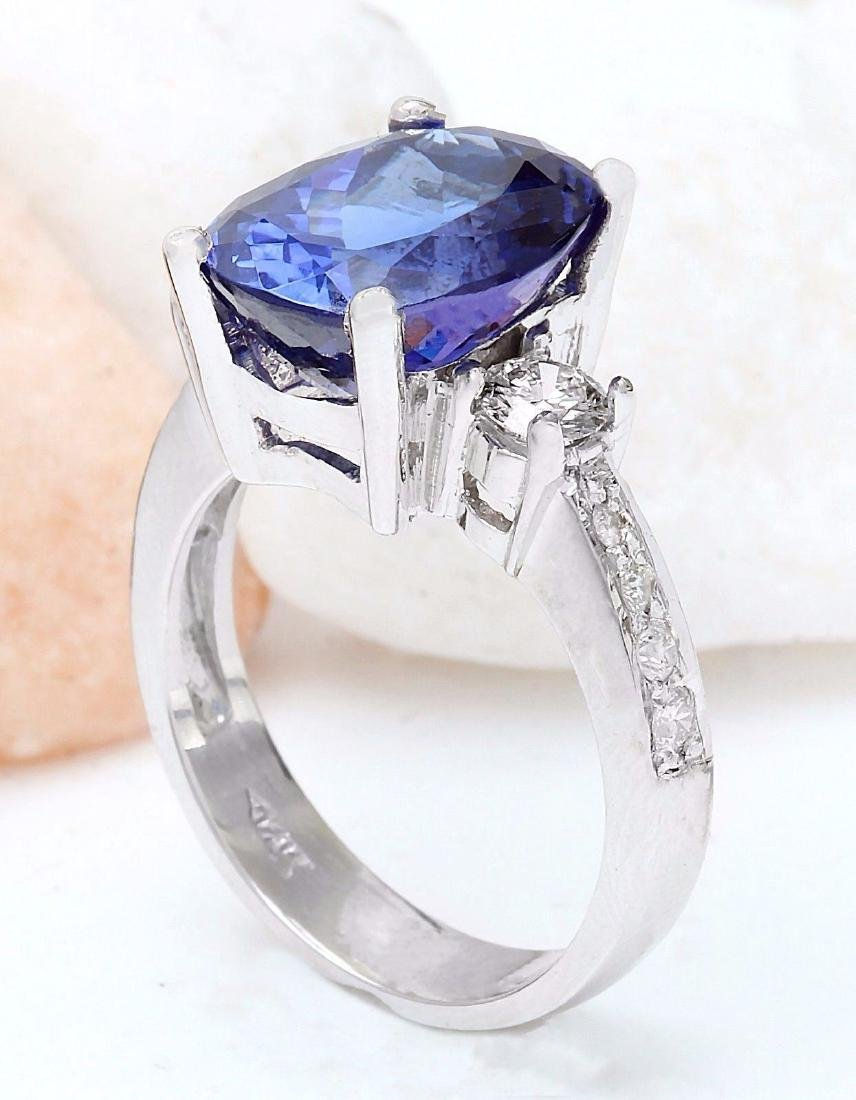 6.83 Carat Natural Tanzanite 18k Solid White Gold - 4