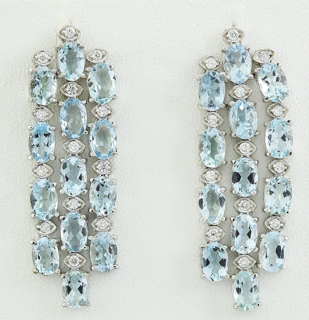9.95 Carat Aquamarine 18k White Gold Diamond Earrings