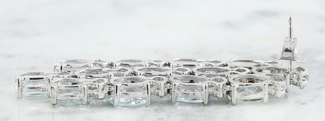 9.95 Carat Aquamarine 18k White Gold Diamond Earrings - 3