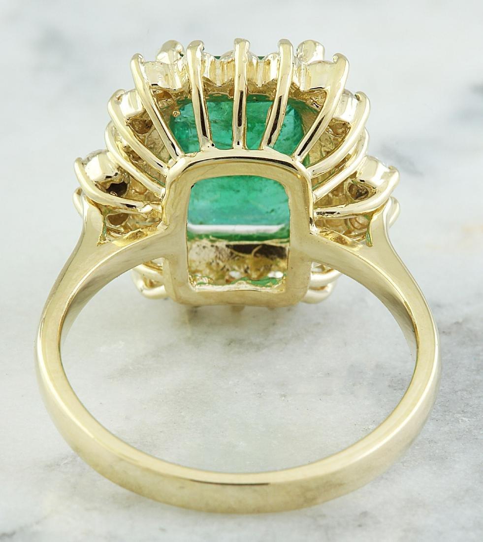 3.72 Carat Emerald 18k Yellow Gold Diamond Ring - 3