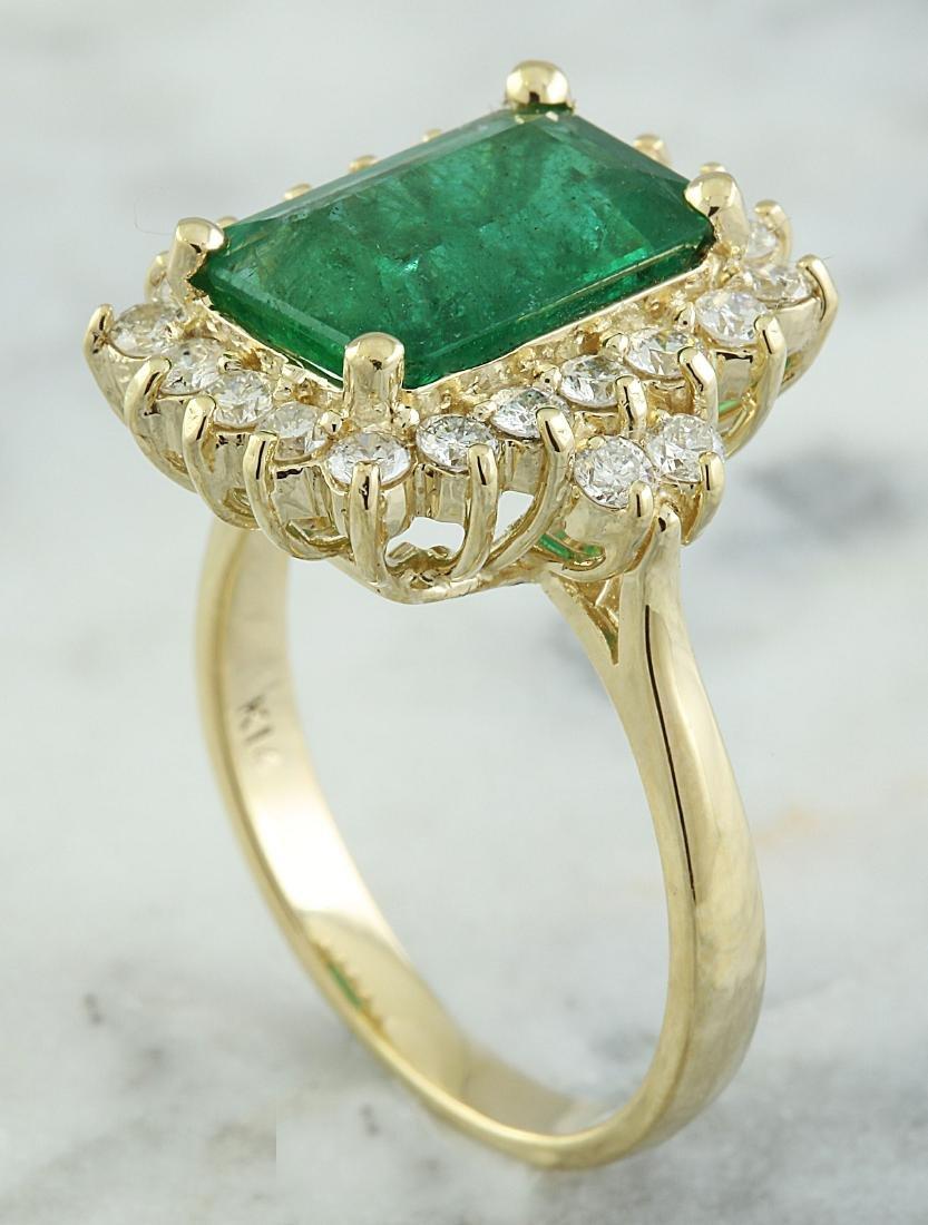 3.72 Carat Emerald 18k Yellow Gold Diamond Ring - 4