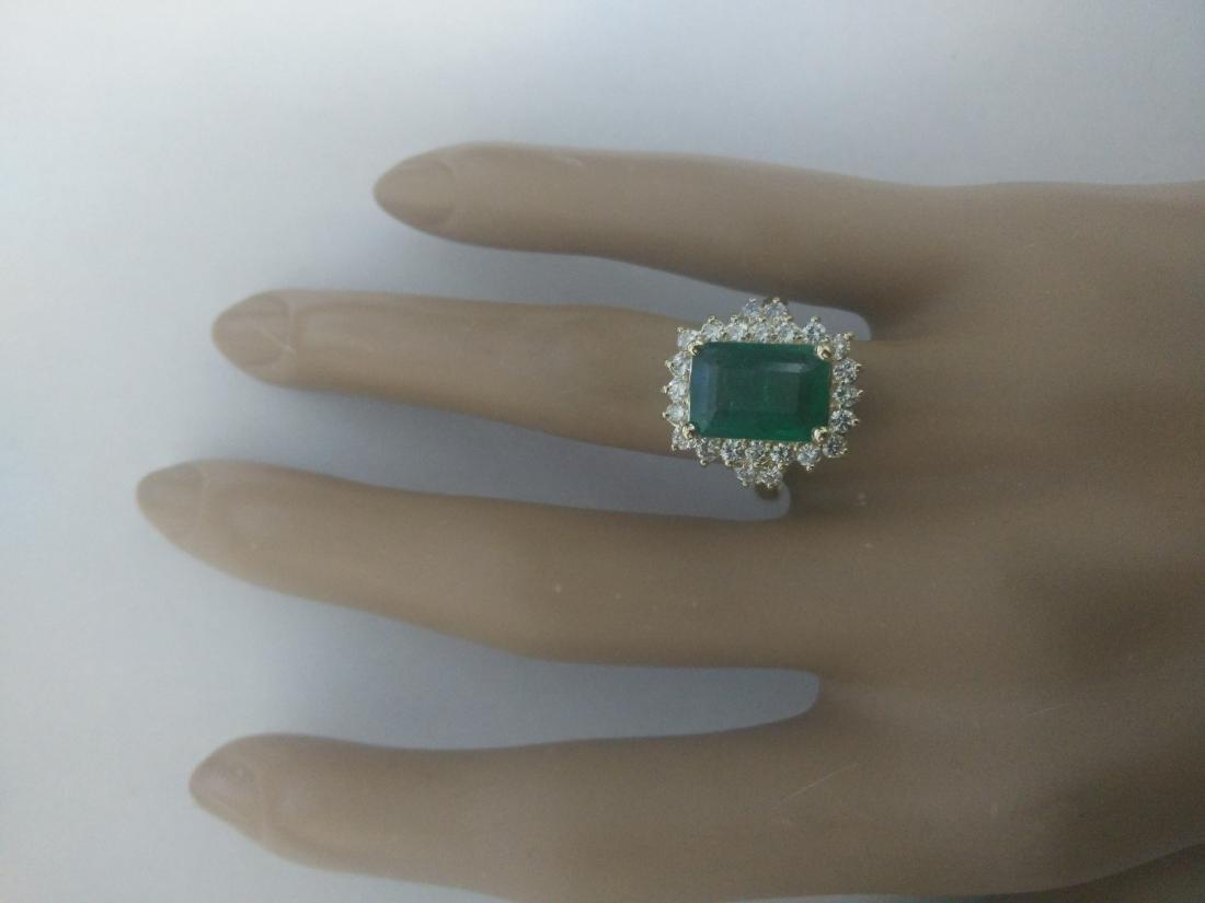 3.72 Carat Emerald 18k Yellow Gold Diamond Ring - 5