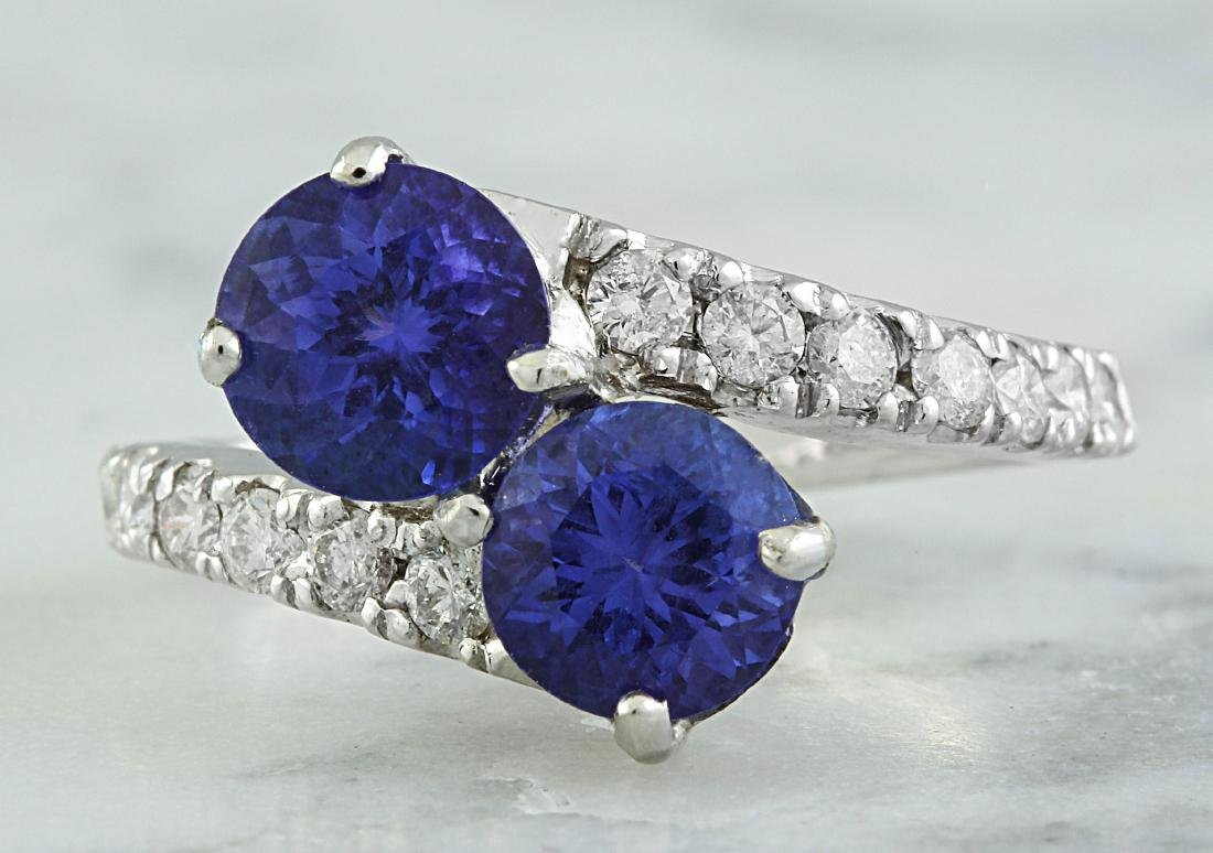 2.52 Carat Tanzanite 18k White Gold Diamond Ring