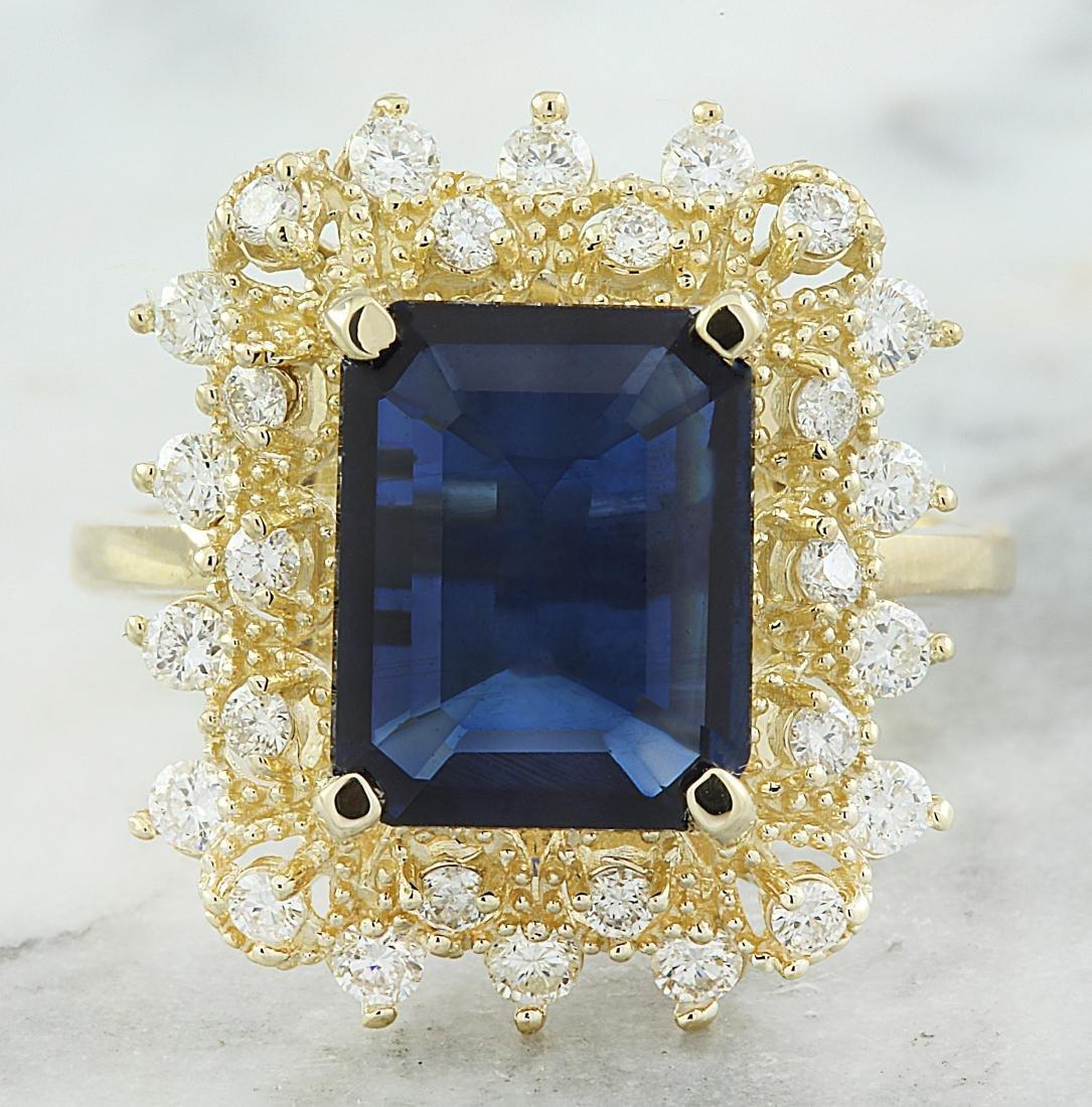 7.03 Carat Sapphire 18k Yellow Gold Diamond Ring