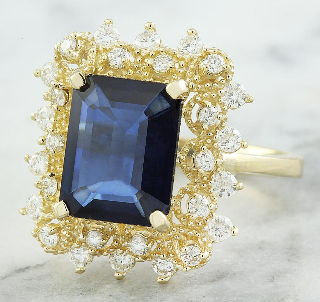 7.03 Carat Sapphire 18k Yellow Gold Diamond Ring - 2